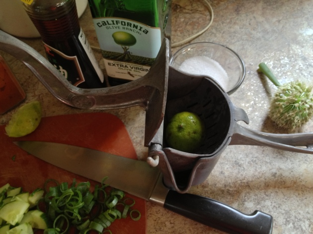 Yay! I get to show you my awesome juicer - I picked it up at an antique shop for $10, and it's worth its weight in gold. It does a great job of getting every last squeeze of juice out of citrus - like a giant garlic press.